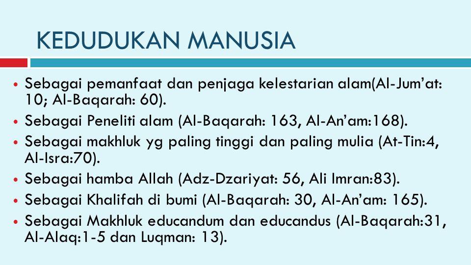 KEDUDUKAN MANUSIA Sebagai pemanfaat dan penjaga kelestarian alam(Al-Jum'at: 10; Al-Baqarah: 60).