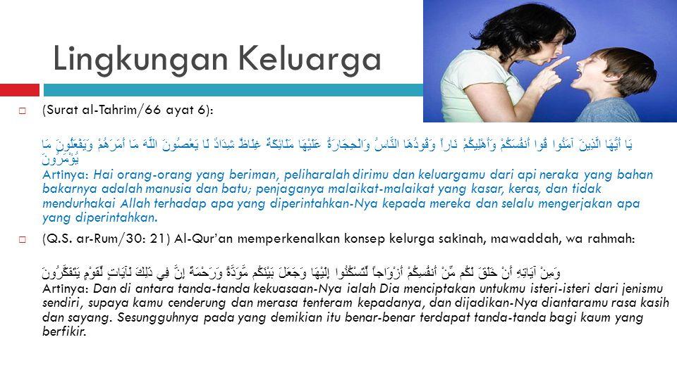 Lingkungan Keluarga (Surat al-Tahrim/66 ayat 6):