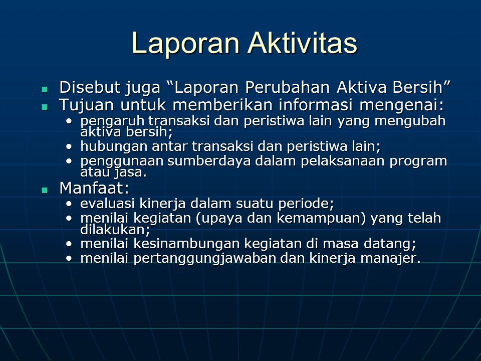 Laporan Aktivitas Disebut juga Laporan Perubahan Aktiva Bersih