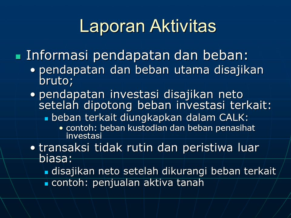 Laporan Aktivitas Informasi pendapatan dan beban: