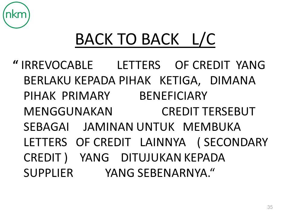 BACK TO BACK L/C