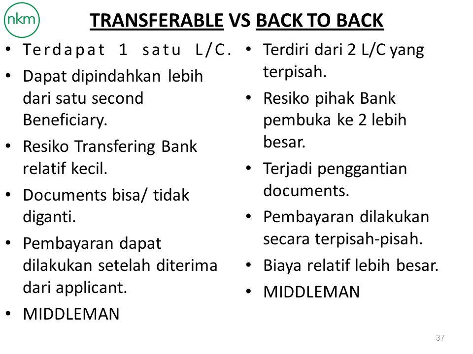 TRANSFERABLE VS BACK TO BACK