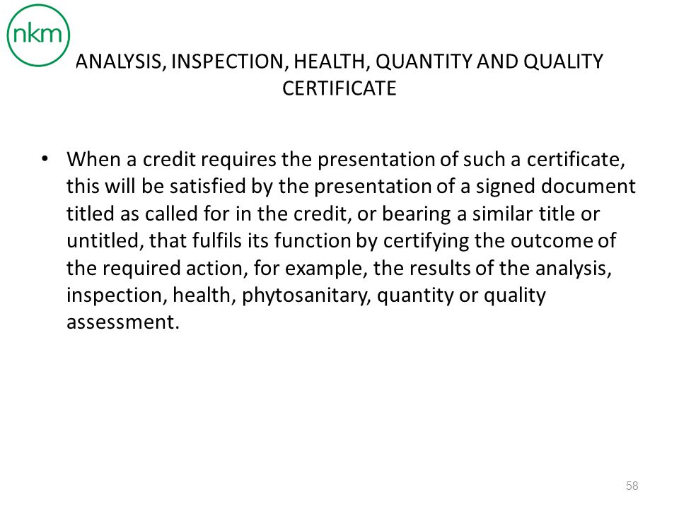 ANALYSIS, INSPECTION, HEALTH, QUANTITY AND QUALITY CERTIFICATE