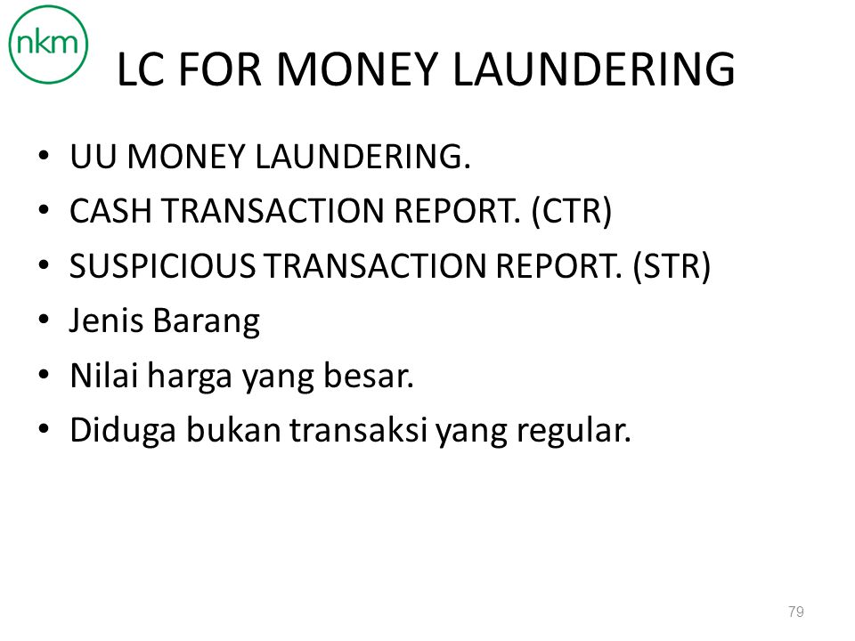 LC FOR MONEY LAUNDERING