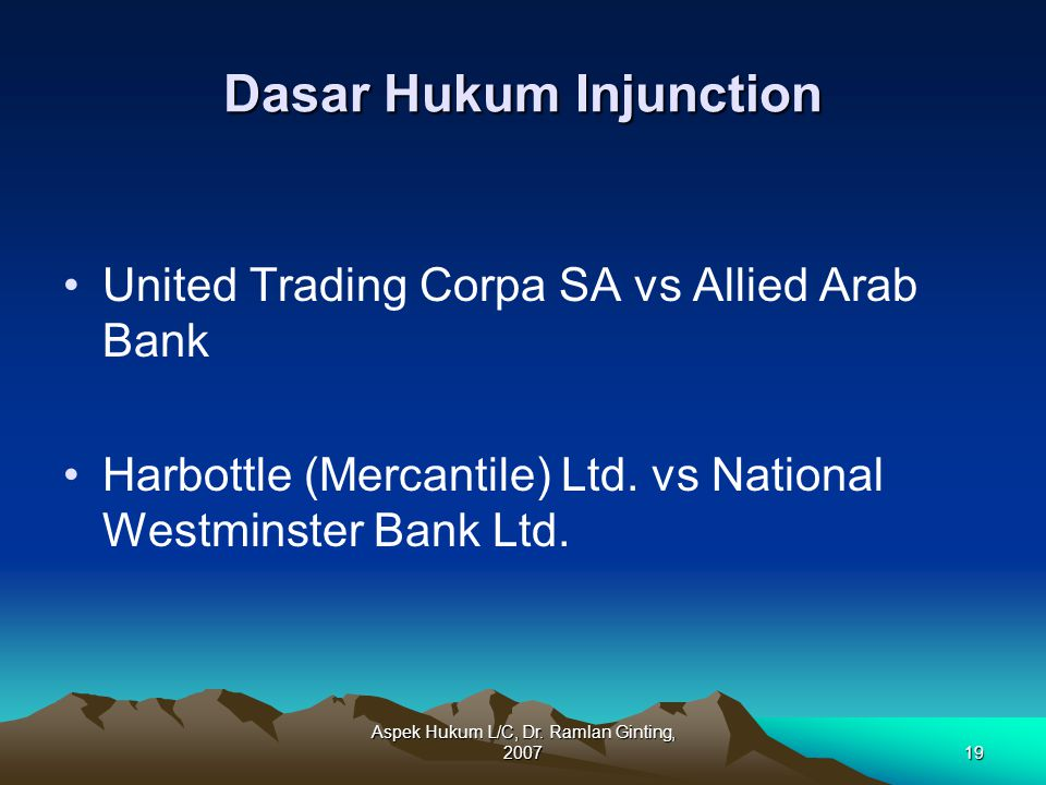 Dasar Hukum Injunction