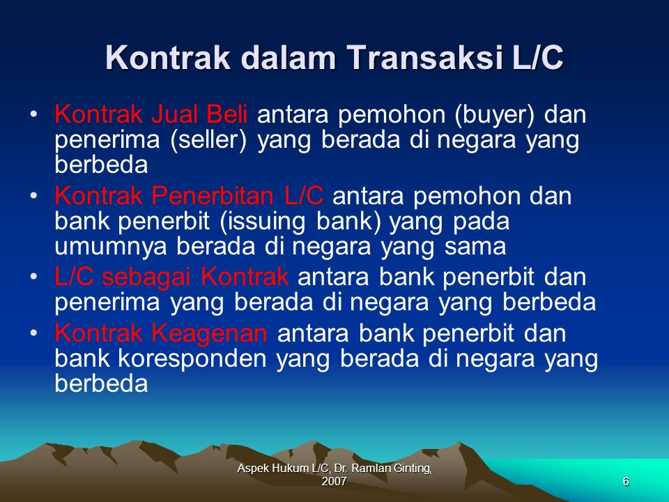 Kontrak dalam Transaksi L/C