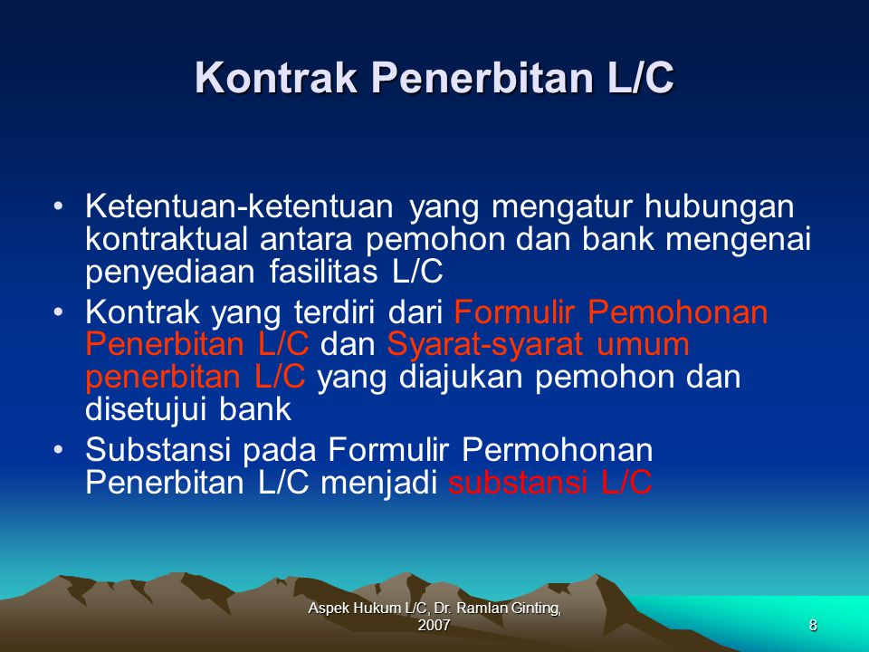 Kontrak Penerbitan L/C
