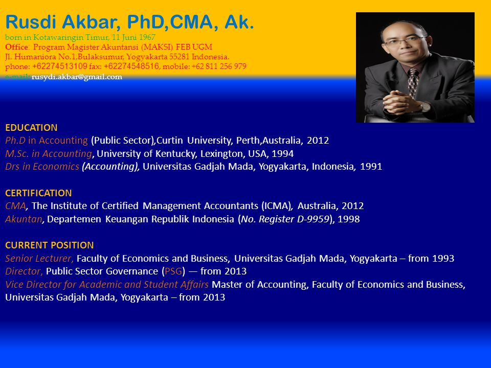 Rusdi Akbar, PhD,CMA, Ak. EDUCATION