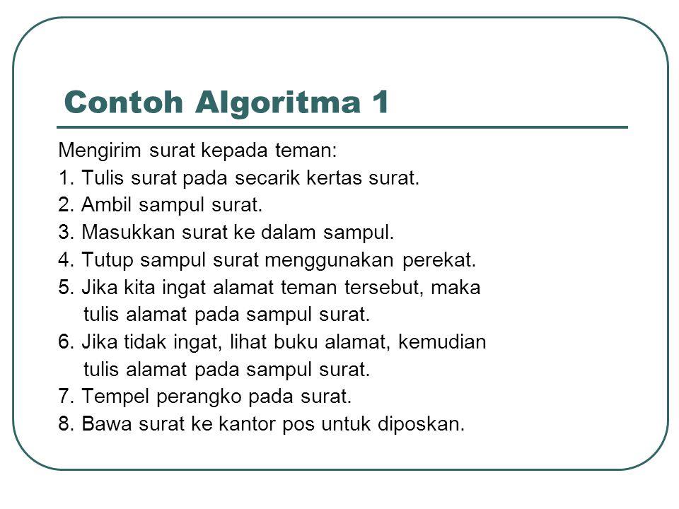 Contoh Algoritma 1 Mengirim surat kepada teman: