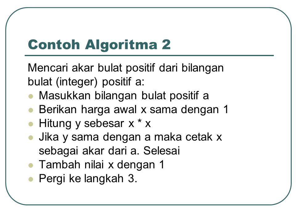 Contoh Algoritma 2 Mencari akar bulat positif dari bilangan