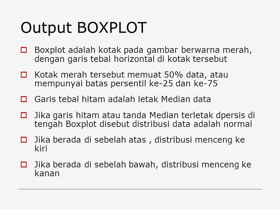 Output BOXPLOT Boxplot adalah kotak pada gambar berwarna merah, dengan garis tebal horizontal di kotak tersebut.