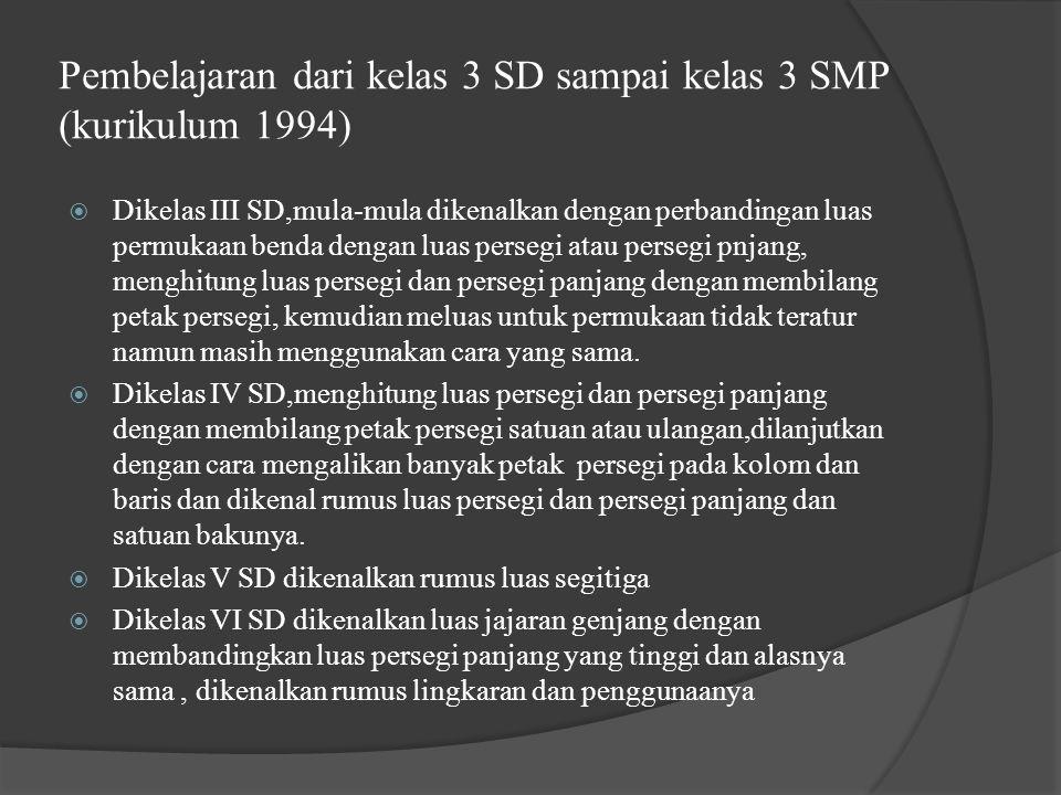 Pembelajaran dari kelas 3 SD sampai kelas 3 SMP (kurikulum 1994)