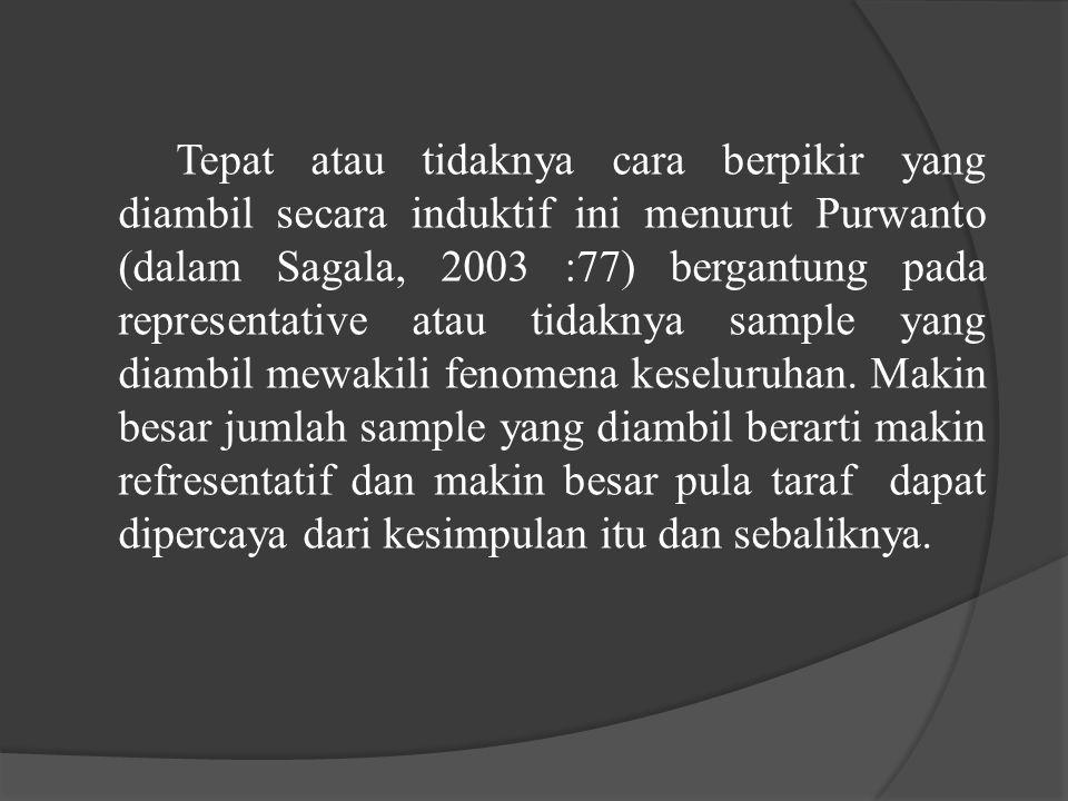 Tepat atau tidaknya cara berpikir yang diambil secara induktif ini menurut Purwanto (dalam Sagala, 2003 :77) bergantung pada representative atau tidaknya sample yang diambil mewakili fenomena keseluruhan.