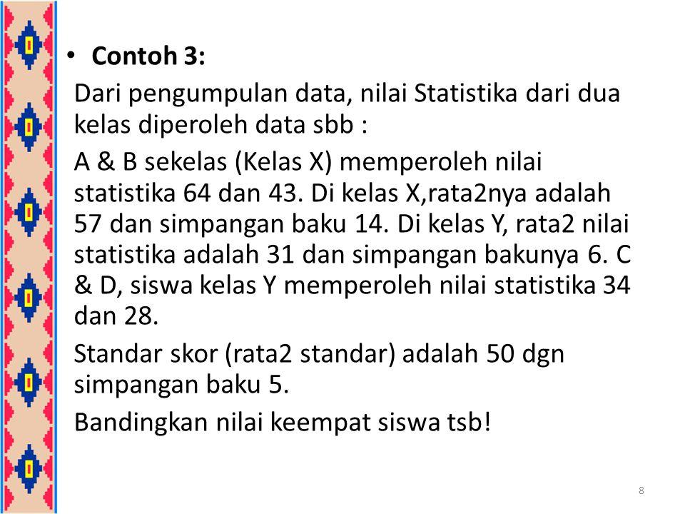 Contoh 3: Dari pengumpulan data, nilai Statistika dari dua kelas diperoleh data sbb :