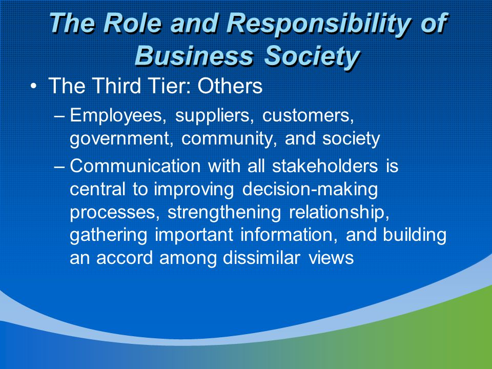 The Role and Responsibility of Business Society