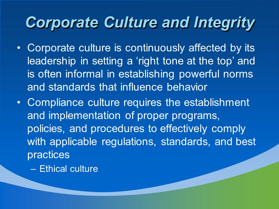 Corporate Culture and Integrity