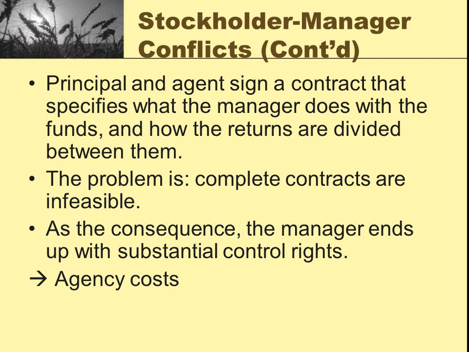 Stockholder-Manager Conflicts (Cont'd)
