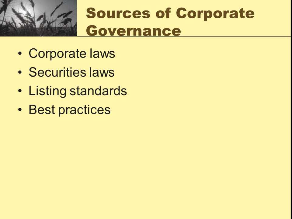 Sources of Corporate Governance
