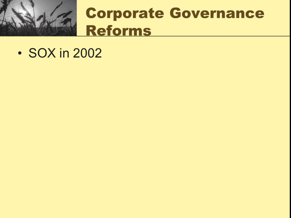 Corporate Governance Reforms