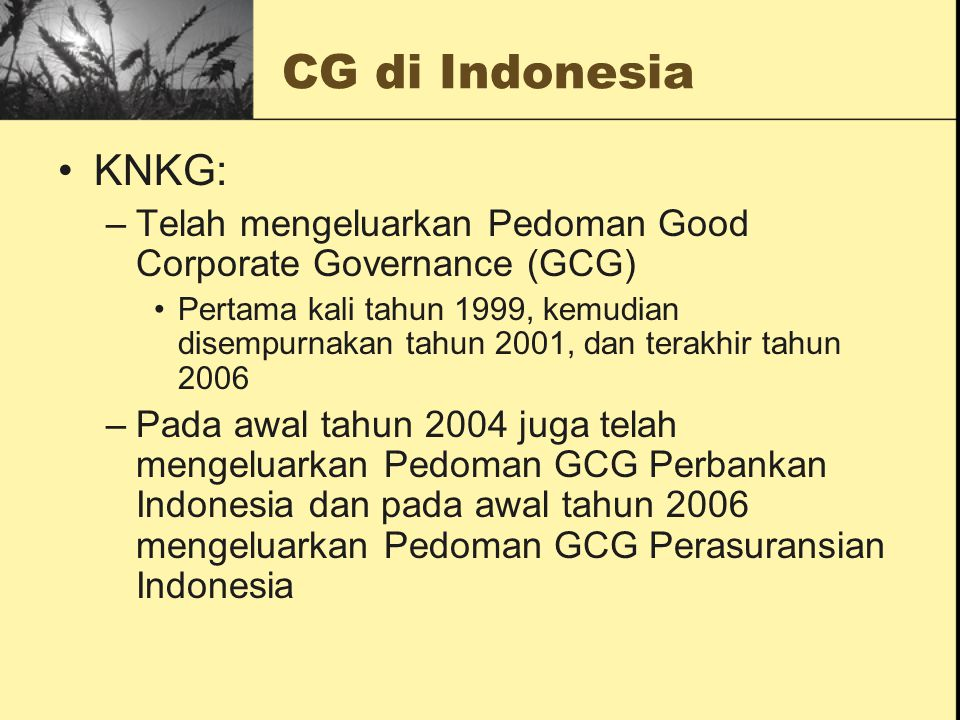 CG di Indonesia KNKG: Telah mengeluarkan Pedoman Good Corporate Governance (GCG)