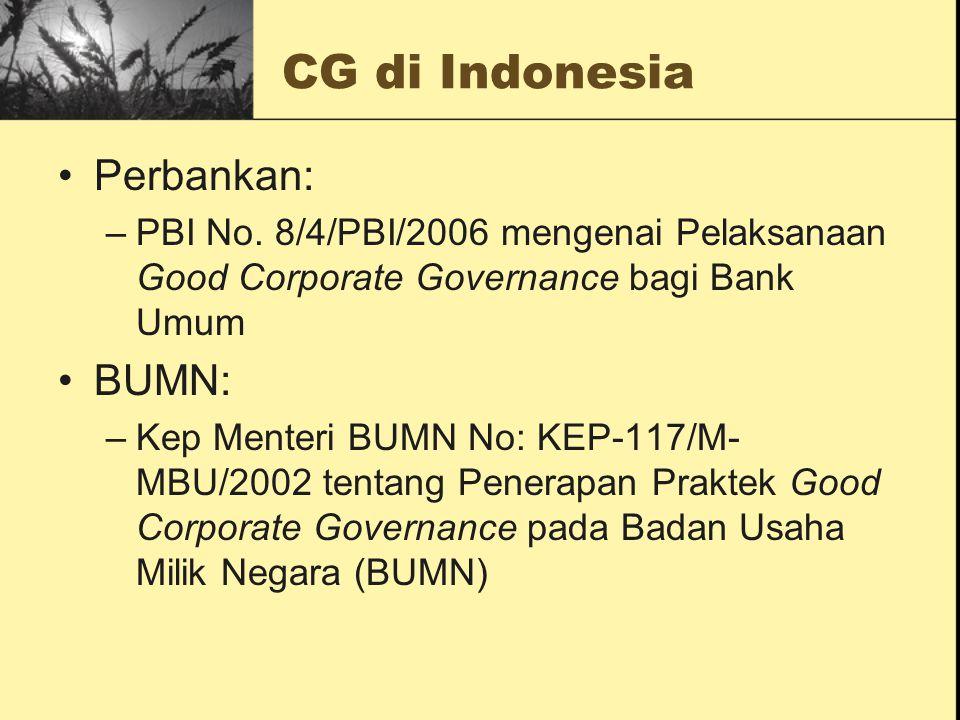 CG di Indonesia Perbankan: BUMN: