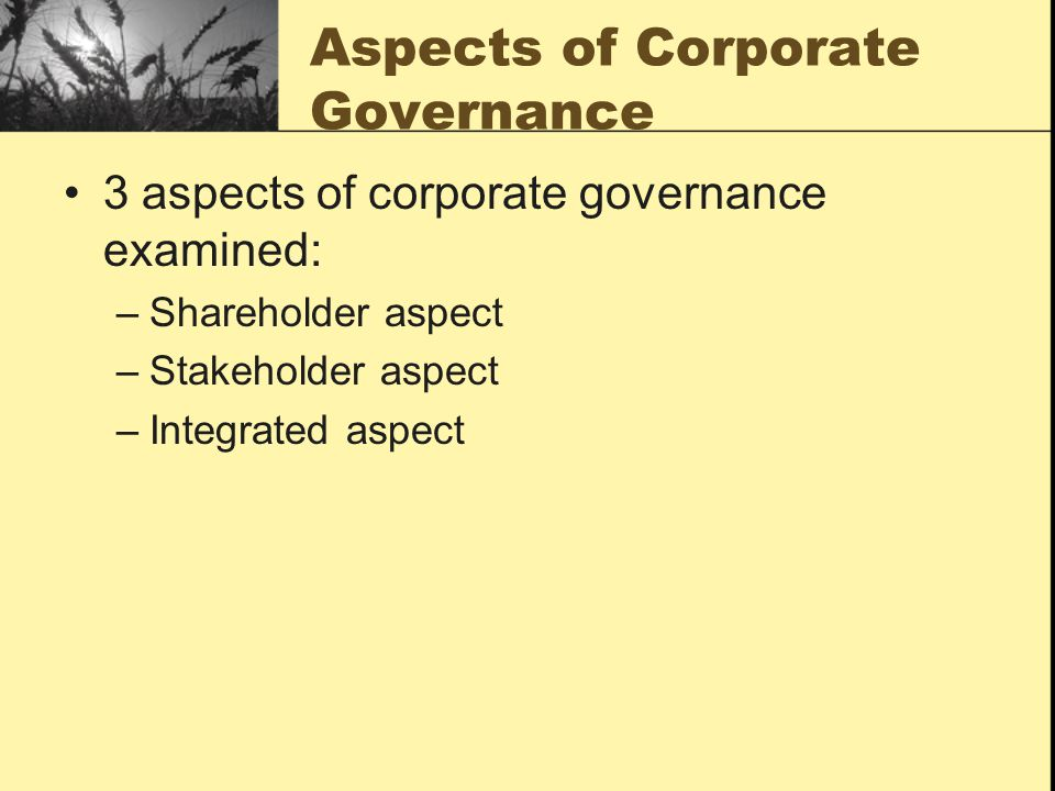 Aspects of Corporate Governance