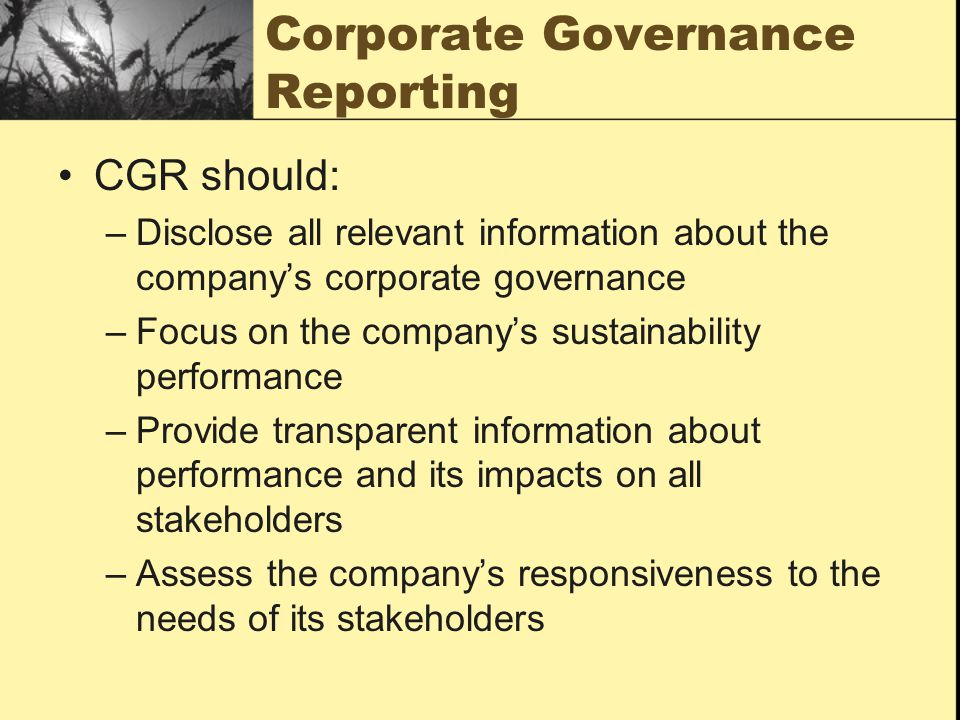 Corporate Governance Reporting