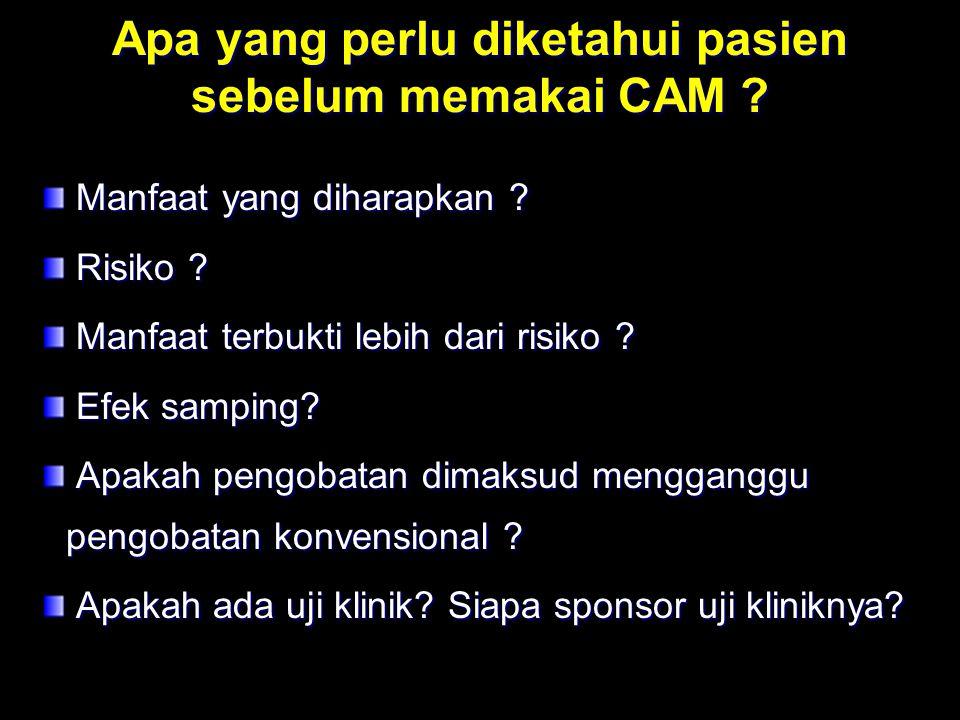 Apa yang perlu diketahui pasien sebelum memakai CAM