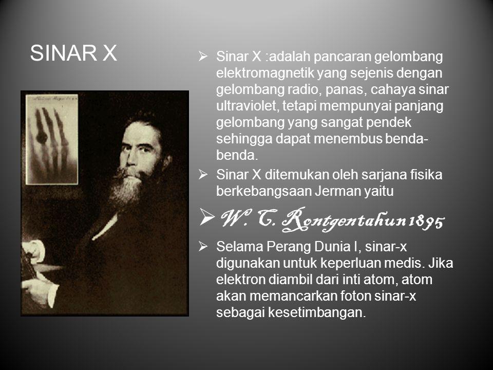 W. C. Rontgen tahun 1895 SINAR X