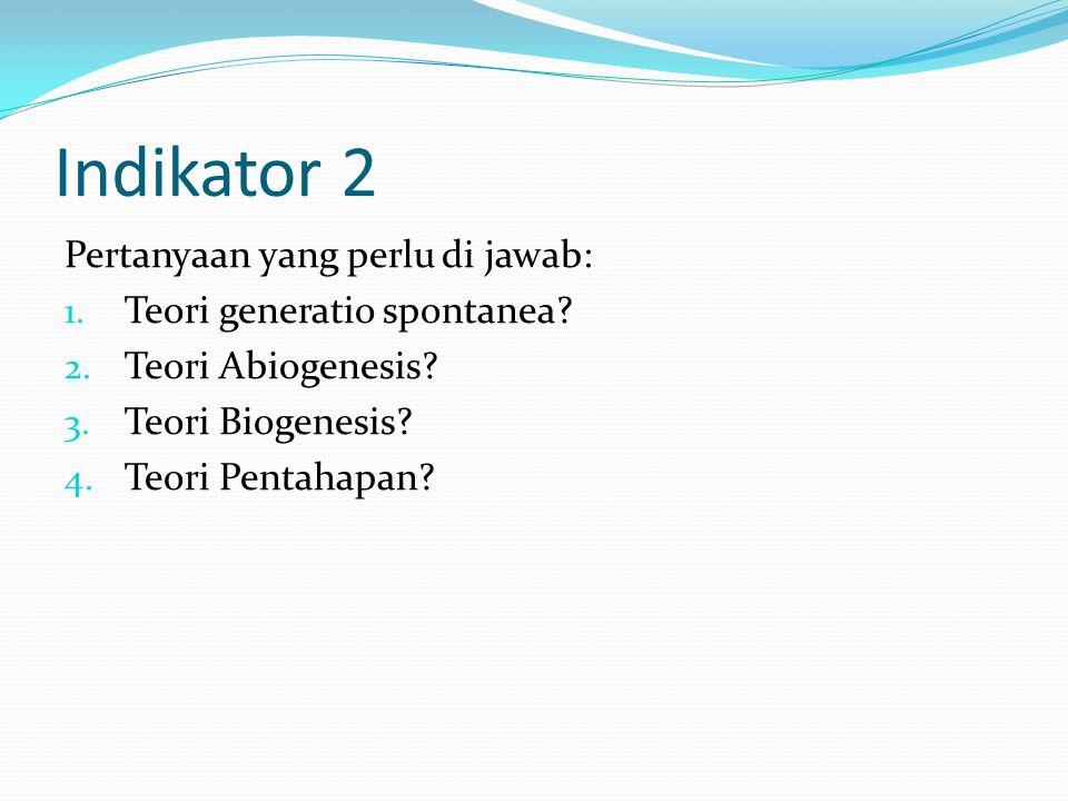 Indikator 2 Pertanyaan yang perlu di jawab: Teori generatio spontanea