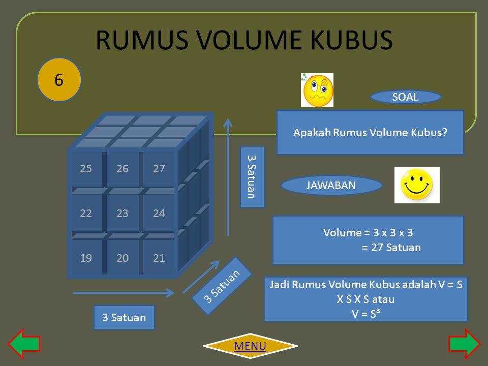 RUMUS VOLUME KUBUS 6 SOAL Apakah Rumus Volume Kubus 7 8 9 16 17 18 25