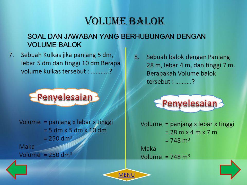 VOLUME BALOK Penyelesaian Penyelesaian
