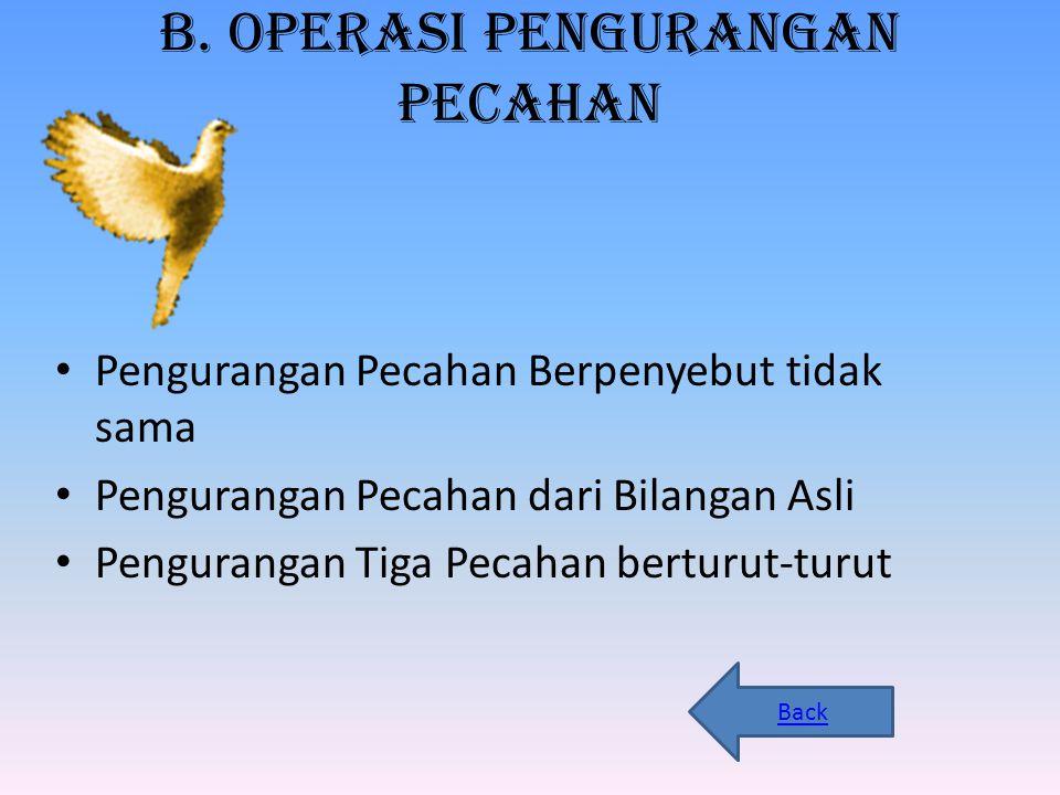 b. Operasi Pengurangan Pecahan