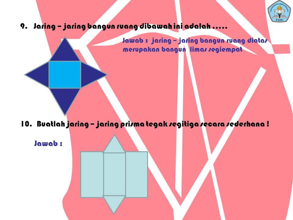 9. Jaring – jaring bangun ruang dibawah ini adalah …..