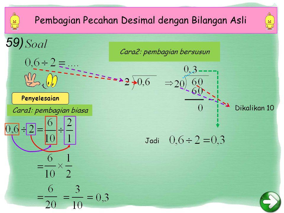 59) Pembagian Pecahan Desimal dengan Bilangan Asli