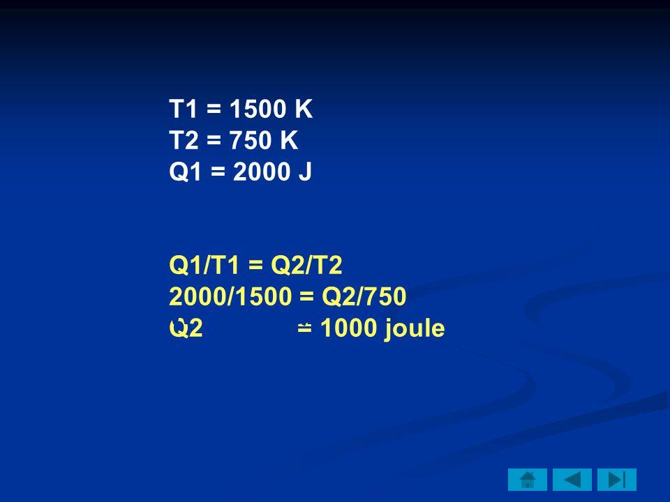 T1 = 1500 K T2 = 750 K. Q1 = 2000 J. Q1/T1 = Q2/T2. 2000/1500 = Q2/750. Q2 = 1000 joule.