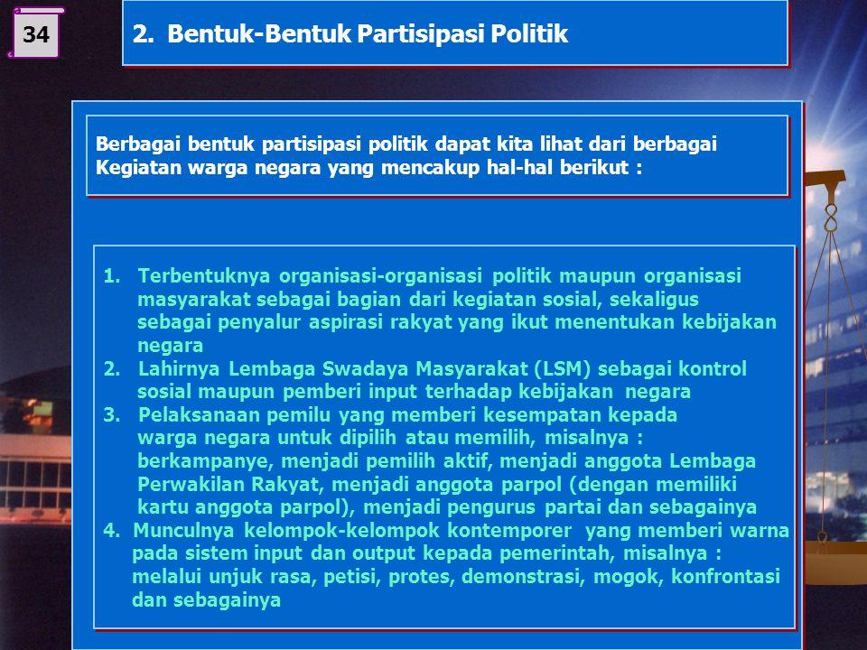 2. Bentuk-Bentuk Partisipasi Politik