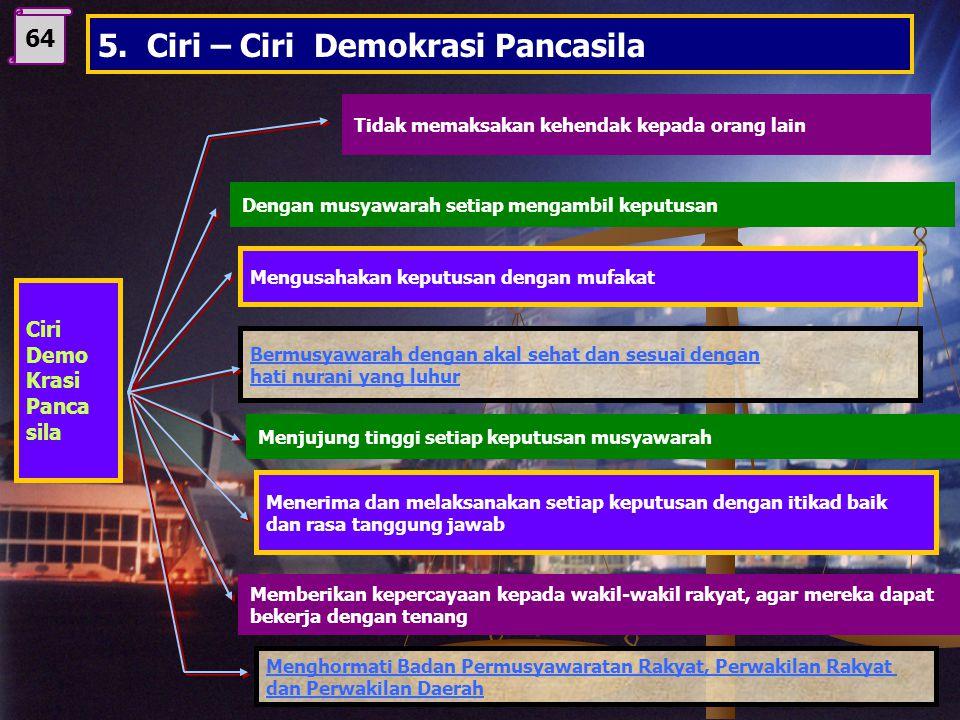 5. Ciri – Ciri Demokrasi Pancasila