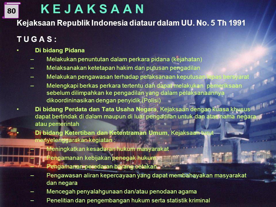 K E J A K S A A N Kejaksaan Republik Indonesia diataur dalam UU. No. 5 Th 1991. T U G A S : Di bidang Pidana.