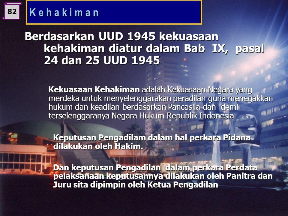K e h a k i m a n 82. Berdasarkan UUD 1945 kekuasaan kehakiman diatur dalam Bab IX, pasal 24 dan 25 UUD 1945.