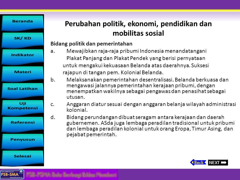 Perubahan politik, ekonomi, pendidikan dan mobilitas sosial