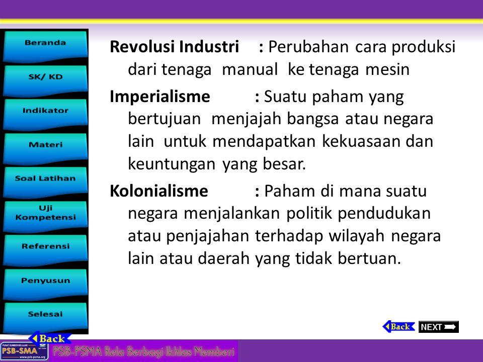 Revolusi Industri : Perubahan cara produksi dari tenaga manual ke tenaga mesin