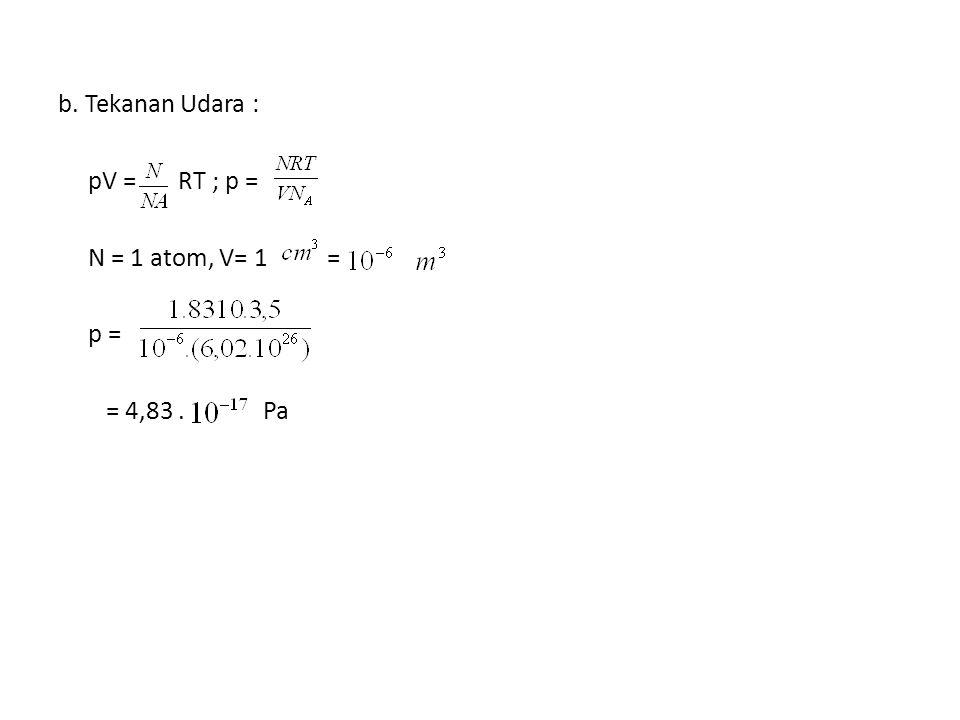 b. Tekanan Udara : pV = RT ; p = N = 1 atom, V= 1 = p = = 4,83 . Pa