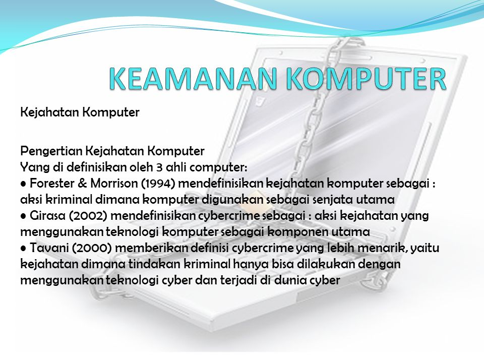 KEAMANAN KOMPUTER Kejahatan Komputer