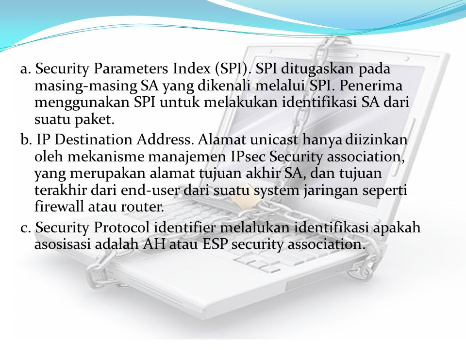 a. Security Parameters Index (SPI)