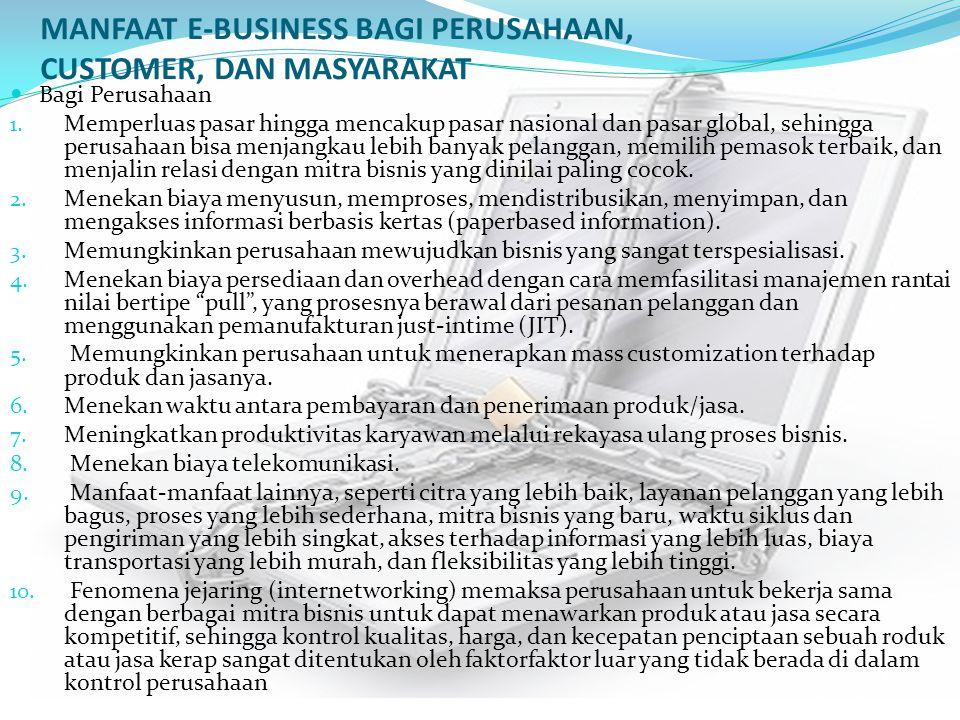 MANFAAT E-BUSINESS BAGI PERUSAHAAN, CUSTOMER, DAN MASYARAKAT