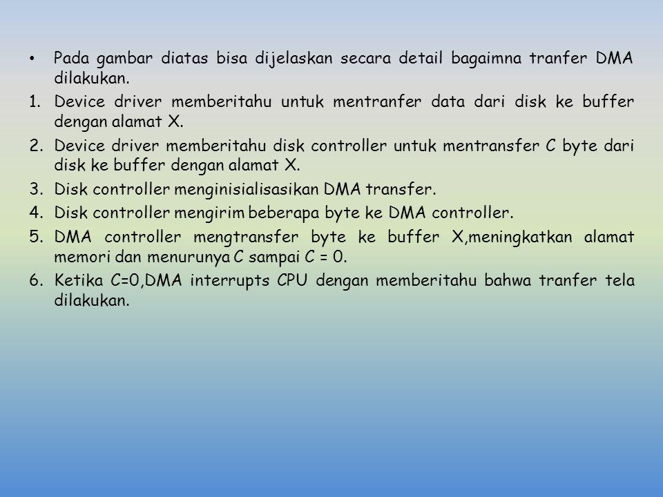 Pada gambar diatas bisa dijelaskan secara detail bagaimna tranfer DMA dilakukan.