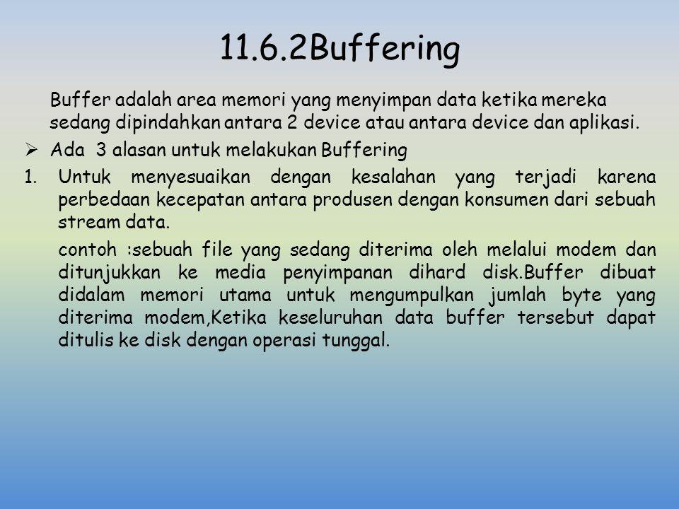 11.6.2Buffering Buffer adalah area memori yang menyimpan data ketika mereka sedang dipindahkan antara 2 device atau antara device dan aplikasi.