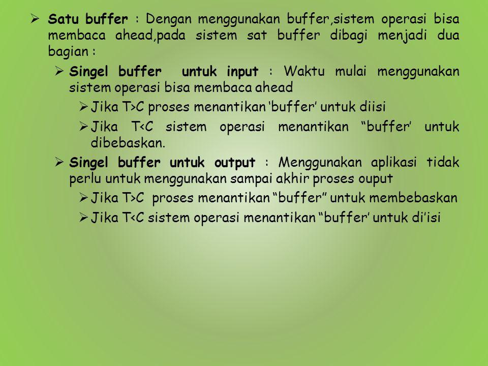 Satu buffer : Dengan menggunakan buffer,sistem operasi bisa membaca ahead,pada sistem sat buffer dibagi menjadi dua bagian :