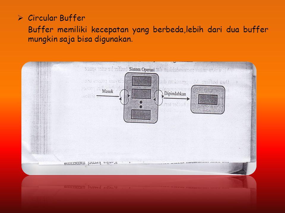 Circular Buffer Buffer memiliki kecepatan yang berbeda,lebih dari dua buffer mungkin saja bisa digunakan.